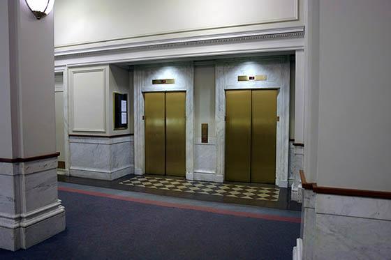 elevators in clean lobby